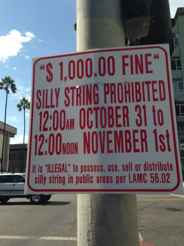 Hollywood Halloween  Gets Jittery about Silly String!  (photo by Judy Ornelas Sisineros)