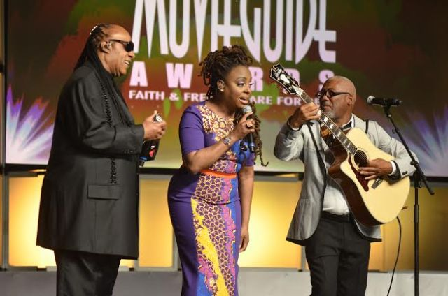 Stevie Wonder, Ledisi, and Jonathan Butler leading a tribute to the late Andrae Crouch.