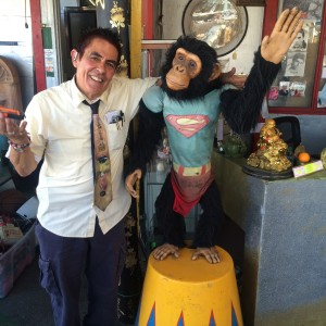 Nick Metropolis poses with a monkey prop used in the film Pee Wee's Big Adventure (photo by Nikki Kreuzer)
