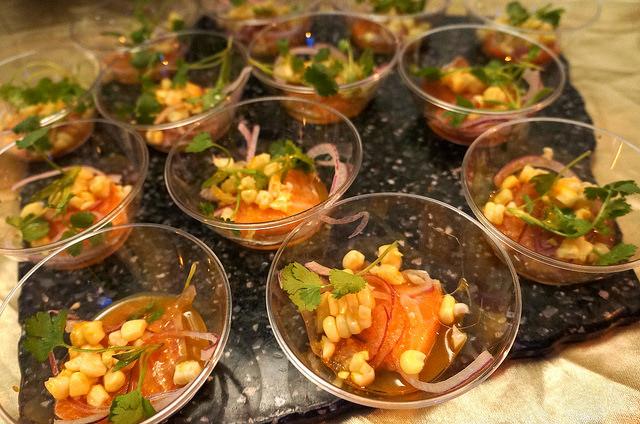Chaya's Salmon Ceviche, aji amarillo ponzu, red onion, corn, cilantro
