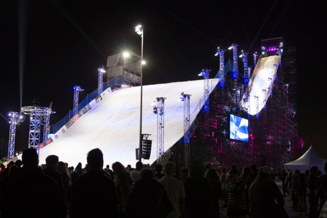 Air + Style's 16-story snowboard jump. Photo by Genesia Ting for the Los Angeles Beat.