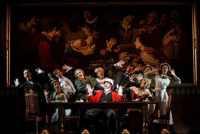 National Touring Company. The cast with John Rapson as Lord Adalbert D'Ysquith (red), Photo courtesy of Joan Marcus.