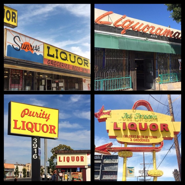 Clever names & themes... Sunrise Liquors on Saticoy Street in North Hollywood; Liquorarma, built in 1959, on Washington Blvd in Mid-City; Purity Liquor on Gage Street in Bell; Jet Stream Liquor, built in 1957, on Vanowen Street in North Hollywood