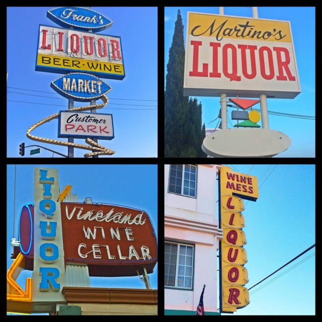 Fun and clever... Frank's Liquor on E. Beverly Blvd & Gerhart in Montebello; Martino's Liquor on Manchester Ave in Inglewood; Vineland Wine Cellar on Vineland Ave in North Hollywood; Wine Mess, in business since 1939, on E. Broadway Ave in Long Beach
