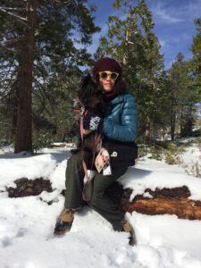 Los Angeles native Erin Korda and her dog, Miss Gulch, enjoy their first visit to Angeles Crest (photo by Nikki Kreuzer)