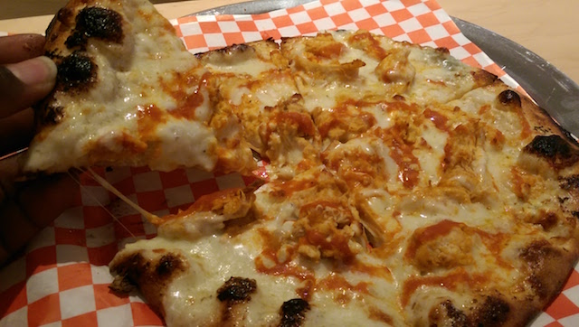 The Buffalo Bleu pizza is perfect for buffalo wing lovers.