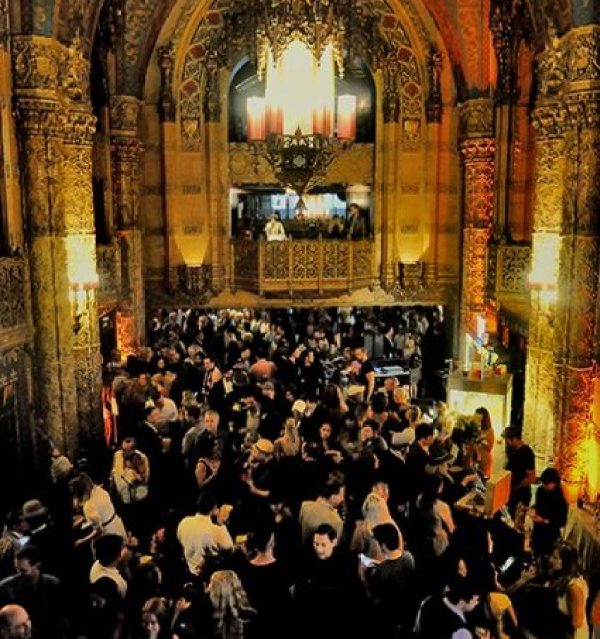 A crowd in the lobby of the Theatre at the Ace Hotel