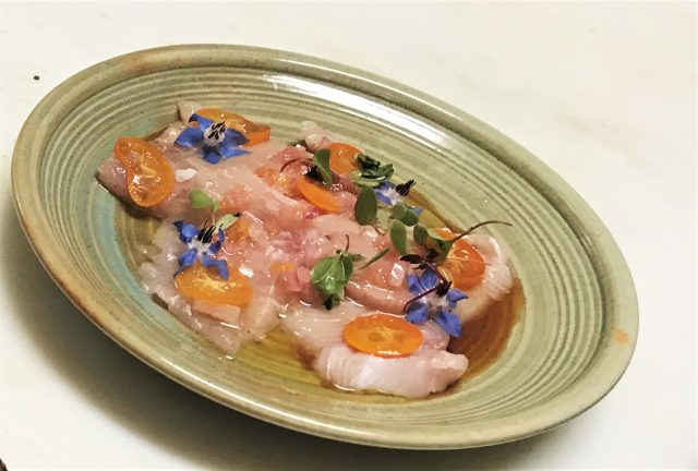 Cured Hamachi Crudo 18 California Kumquats Yuzu Shoyu Blood Orange Relish The La Beat