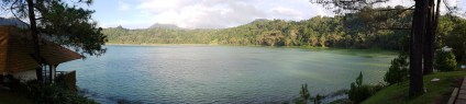 A panaromic view of Lake Linow.