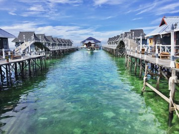 Over water bungalow in Borneo, Malaysia