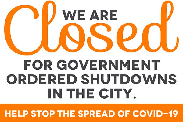Closed due to coronavirus sign
