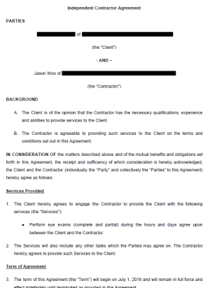Example Optometrist Contract