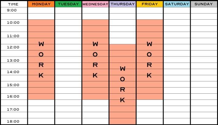Example Optometrist Work Schedule