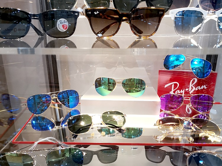 Display Case Showing a Collection of Ray-Ban Sunglasses