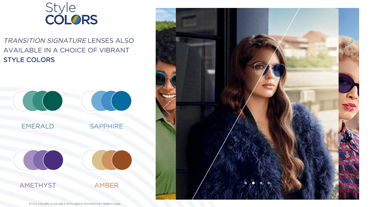 A few of the different colors available in Transitions lenses