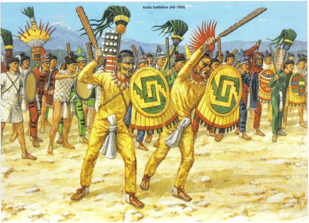 Adam Hook showing the battle formation of th Aztec Army in the 16th century AD.