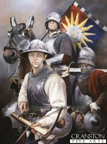 Soldiers of the Yorkist cause c.1461. Crossbowman, Man at arms and knight with the standard of the Sun in Splendour.