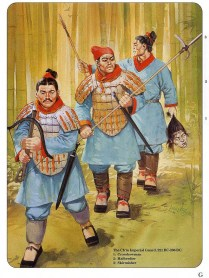 ancient chinese warriors of the Qin Dynasty under the emperor Qin Shi Huangm during the Qin's wars of unification