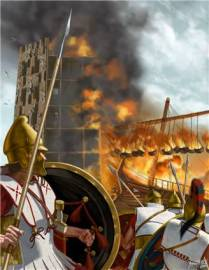Tyrian Fire Ship Attacks Alexander's Siege Towers