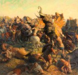 A painting depicts Alexander the Great battling an Indian army