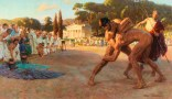 Referee watches Greek wrestlers in ancient Olympic games.