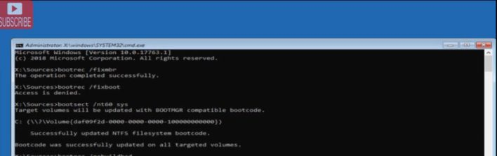 Now in command prompt type below mentioned command one by one and hit enter : Bootrec /fixmbr Bootrec /fixboot