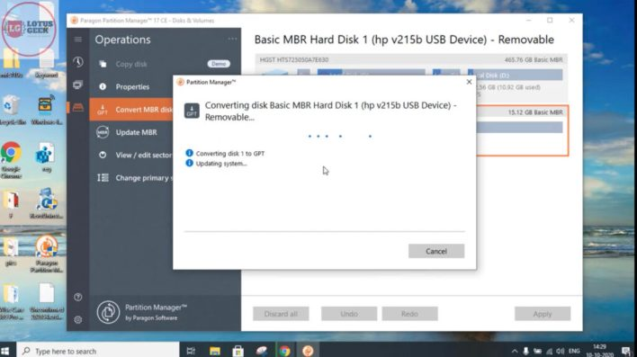 Convert mbr to gpt Without data loss