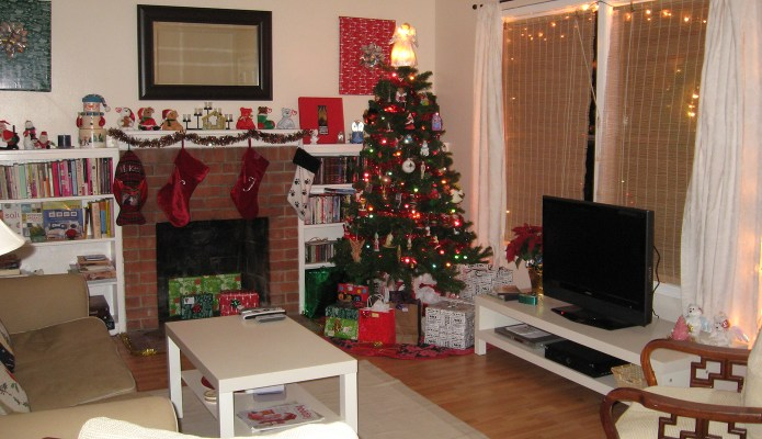 The living room decorated for Christmas at The Duplex