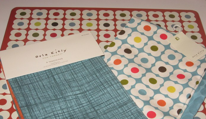 Orla Kiely napkins, towels, and placemat from Target