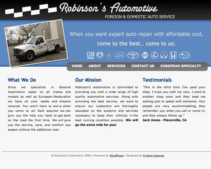 Robinson's Automotive - before