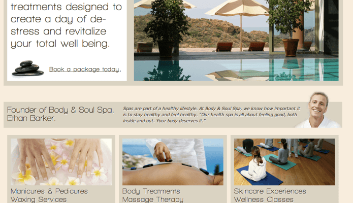 One page site design for a fictional spa