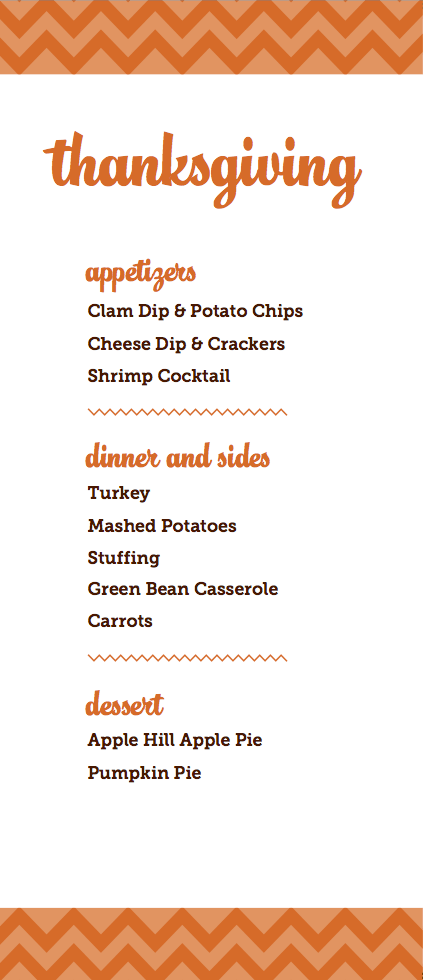 2013 Thanksgiving Menu