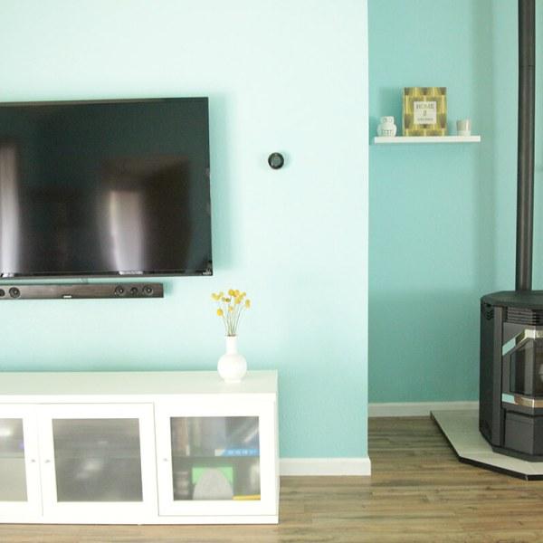 Freestanding pellet stove in the living room #thelovelygeek