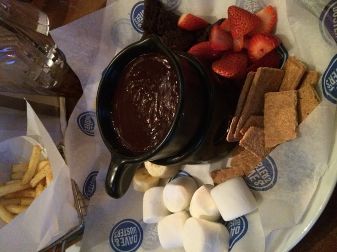 Fondue dessert at Dave & Busters