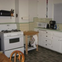 The kitchen in our first rental #thelovelygeek