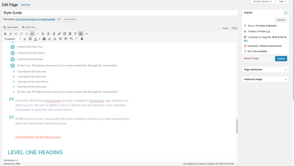 Styled Visual Editor #thelovelygeek