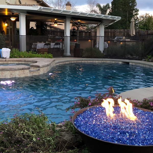 Pool, Spa, and Fire Bowl all lit up #thelovelygeek