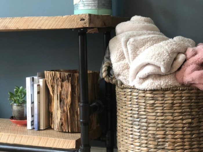 Find ways to store items that are appealing and can be part of the decor