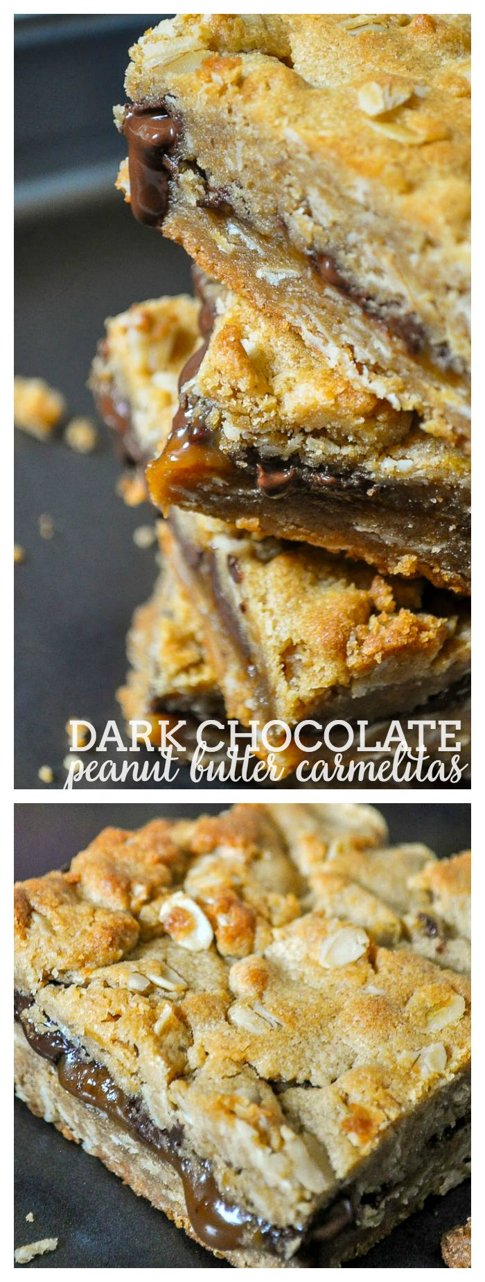 Decadent Dark Chocolate Peanut Butter Carmelitas! So good that you won't want to share a single bite of this dessert bar recipe! | The Love Nerds