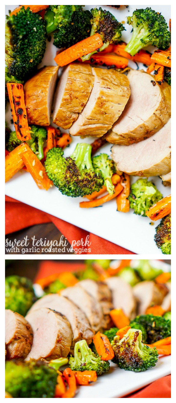 Sweet Teriyaki Pork with Garlic Oven Roasted Vegetables - Make this delicious home cooked dinner idea in 30 minutes, making it an easy weeknight meal!   The Love Nerds #ad #RealFlavorRealFast @SmithfieldBrand