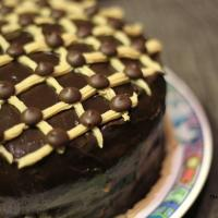 Chocolate cake with Caramel Buttercream and Roast almond Filling