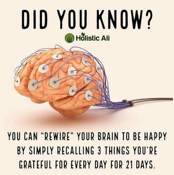 You can rewire your brain to be happy by simple recalling 3 things you're grateful for every day for 21 days