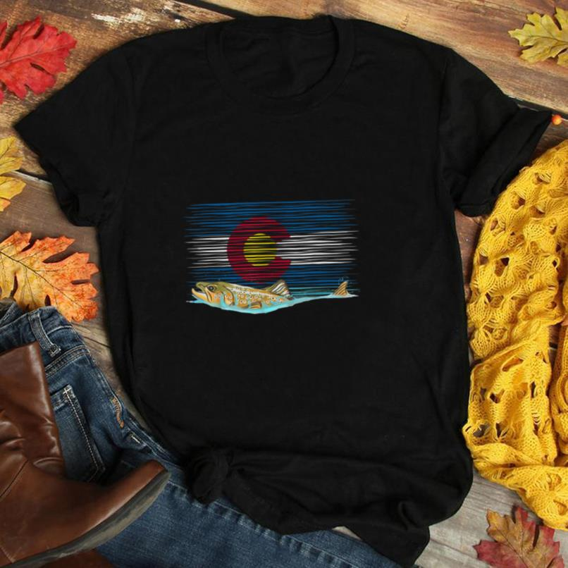 Brown Trout Vintage Colorado Flag T shirt Fly Fishing Gift T Shirt