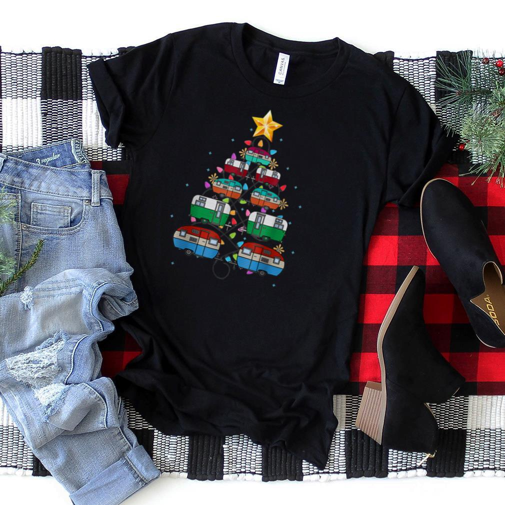 Camper Christmas Tree Lights Funny Camping Christmas T Shirt