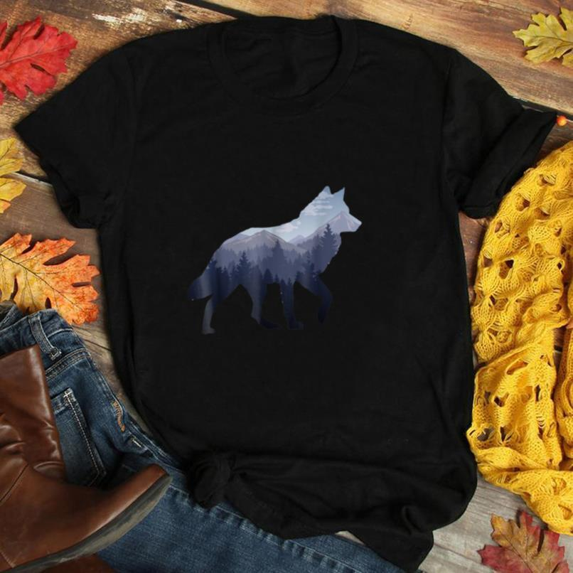 Lone Wolf Survives The Mountain Silhouette Art T Shirt