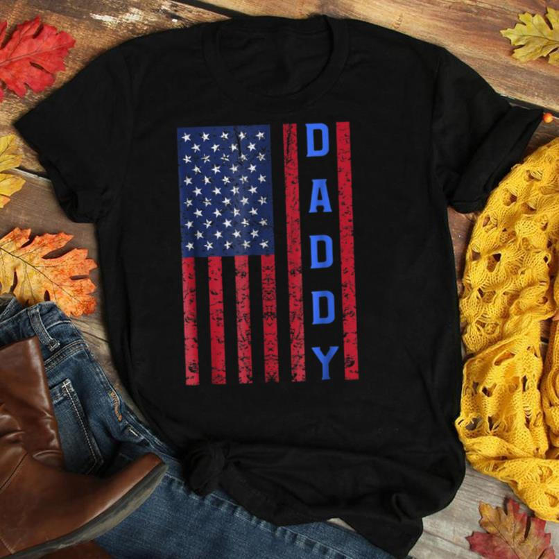 Mens American Flag Police Dad T shirt for Cop Father's Day Gift