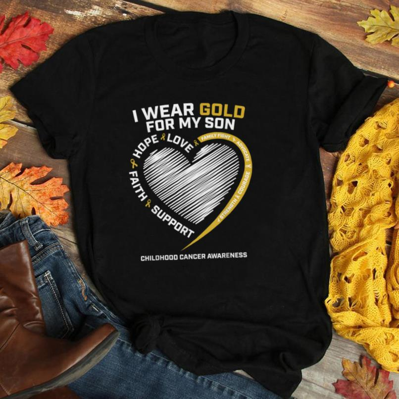 Mom Dad I Wear Gold For My Son Childhood Cancer Awareness T Shirt