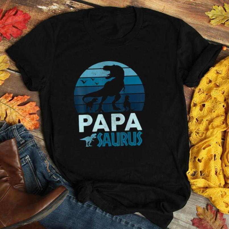 Vintage Retro Papasaurus 3 Kids Sunset Father's Day Party T Shirt