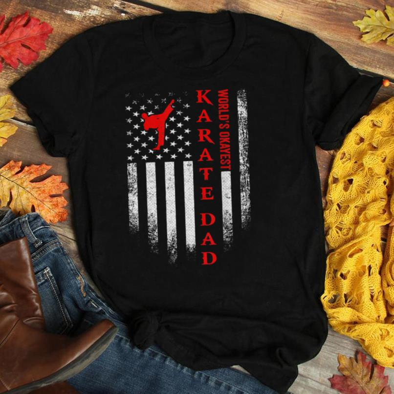 Vintage USA American Flag World's Okayest Karate Dad Funny T Shirt
