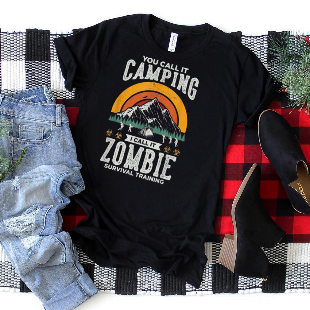 Zombie Survival Training Funny Halloween Camping Funny Retro T Shirt